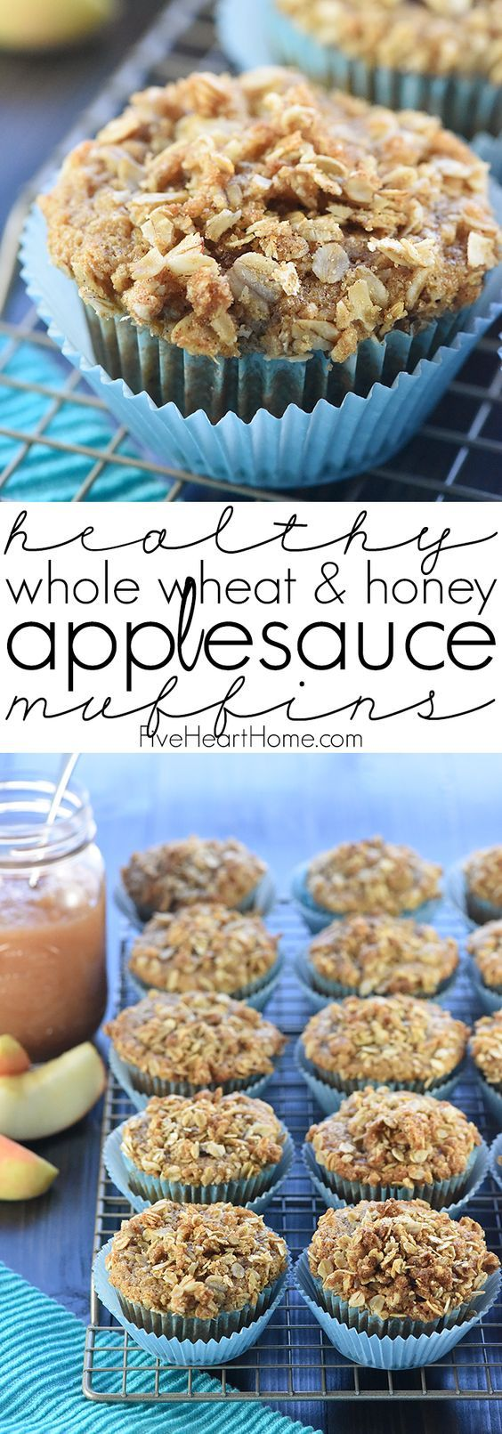 Healthy Whole Wheat & Honey Applesauce Muffins ~ soft, moist, and made with wholesome ingredients including whole wheat flour, Greek yogurt, coconut oil, and honey! | FiveHeartHome.com