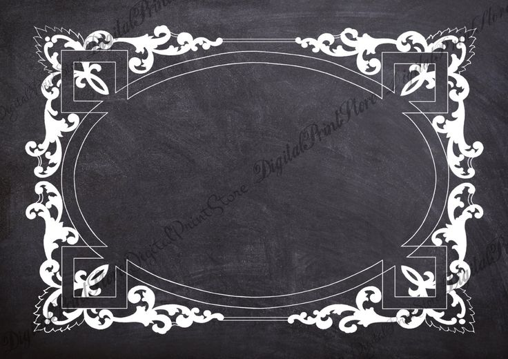 Retro Chalkboard Frame Victorian Border 005 Embellishment Frame Commercial Use by DigitalPrintStore on Etsy