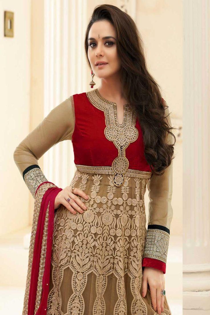 Preity Zinta in Designer Long Anarkali Salwar Kameez Pics 2014 - Vega Fashion Mom