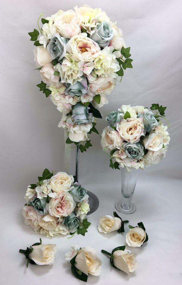 Artificial Silk Flower Pale Pink/Green/Cream Peonies/Roses Wedding Bouquet Set