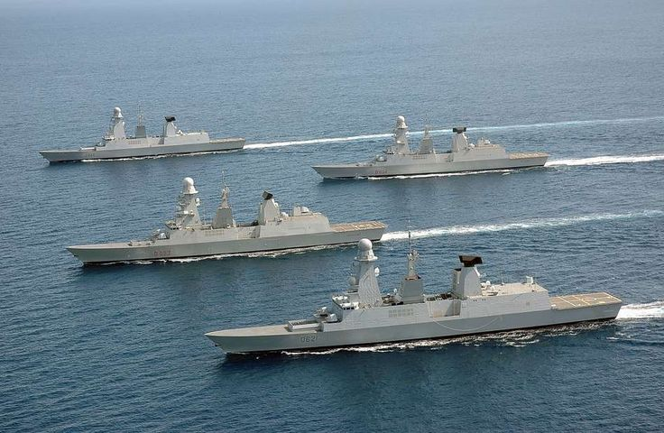 Flotilla of French Marine nationale FREMM frigates.