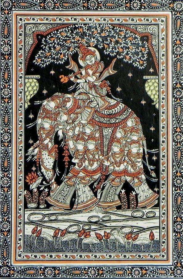 Murlidhara Krishna Riding a Beautiful Nari Kunjar (Elephant Made of Gopinis) (Orissa Paata Painting on Canvas - Unframed))