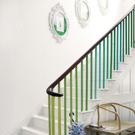 Colour the railings of your staircase, and change the whole mood :) Place pretty photo frames along the way so your walk up the stairs will be a little more fun!