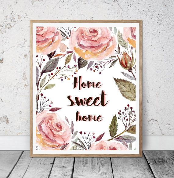 Home Sweet Home Printable Wall Art Quote Instant by MSdesignart