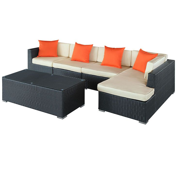 signal 5 piece outdoor patio sectional set in espresso white engage adaptivity with the signal outdoor
