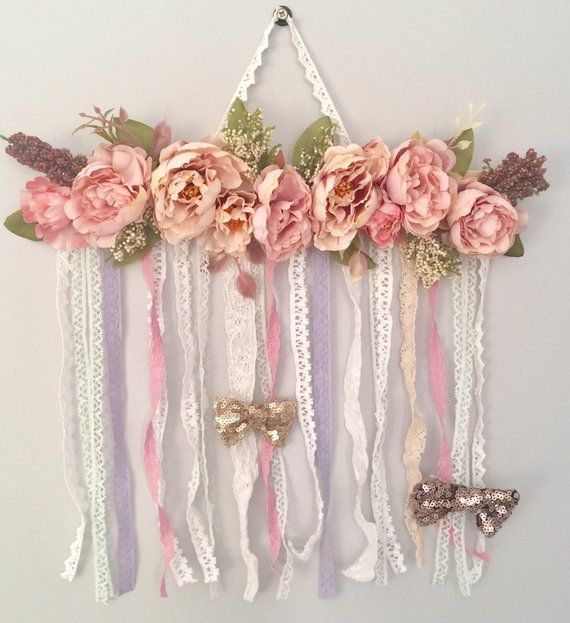 Baby Shower Personalized hair bow holder Headband Holder Rustic Flowers cute