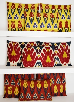 Cool cushions by Rifat Ozbek - make me think of babushkas, sultans, Turkish flowers, oriental ornaments simplified