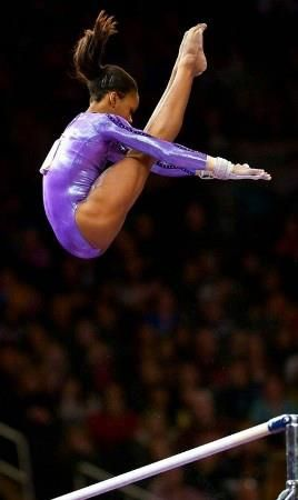Gabby Douglas...this is why they call her the flying squirrel- because she is so high in whatever she does <3