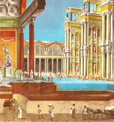 Sectional view of a hall and a swimming bath in the Baths of Caracalla