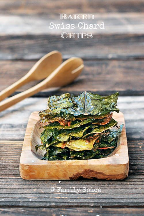 Baked Swiss Chard Chips by FamilySpice.com
