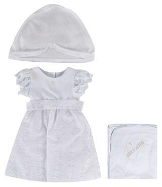 Подробнее о товаре Лео, Крестильный комплект: платье, косынка, пеленка с уголком для девочки (белый)