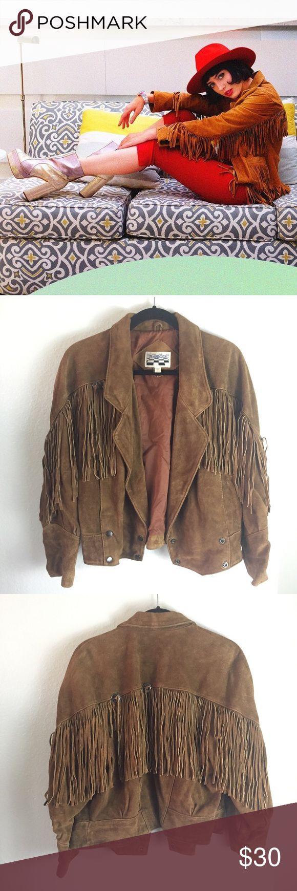 Fringe Vintage Leather Jacket Epic fringe leather jacket — worn in — few conchos missing. Jackets & Coats