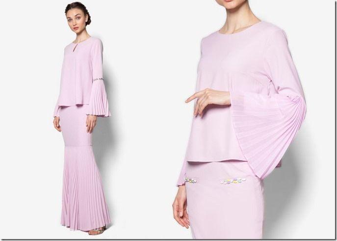 Glamorous Pastel Baju Kurung Ideas For Raya 2016 / lilac-embellished-pleated-kurung