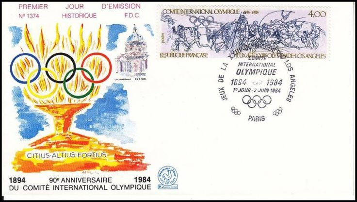 Timbre : COMITE INTERNATIONALE OLYMPIQUE 1894-1984 JEUX de la XXIIIe OLYMPIADE - LOS ANGELES | WikiTimbres