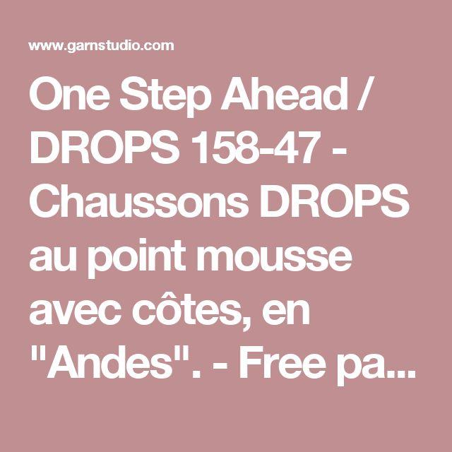 """One Step Ahead / DROPS 158-47 - Chaussons DROPS au point mousse avec côtes, en """"Andes"""". - Free pattern by DROPS Design"""