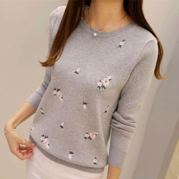 New Youth Women's Sweater Autumn 2016 Winter Fashion Elegant Peach blossoms Embroidery Thick Pullovers Slim Thin Sweater Female
