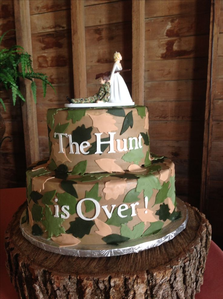 Camouflage Grooms cake - The hunt is over                                                                                                                                                     More