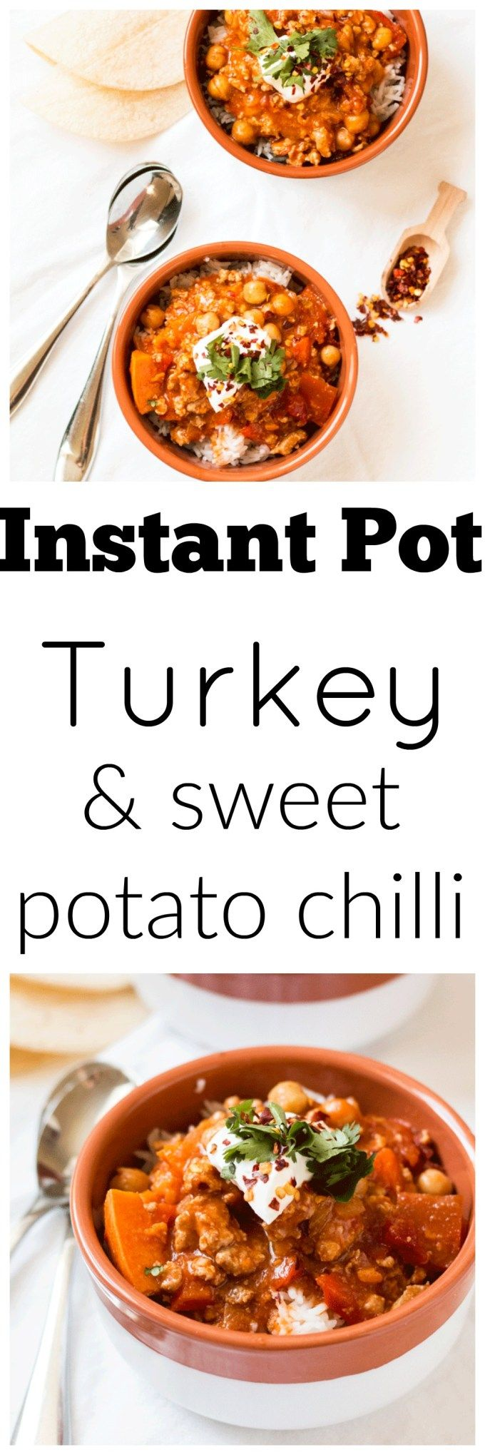 Turkey and Sweet Potato Chilli in the Instant Pot. Dinner can be super delicious and on the table in under 30 minutes. The kids will love it