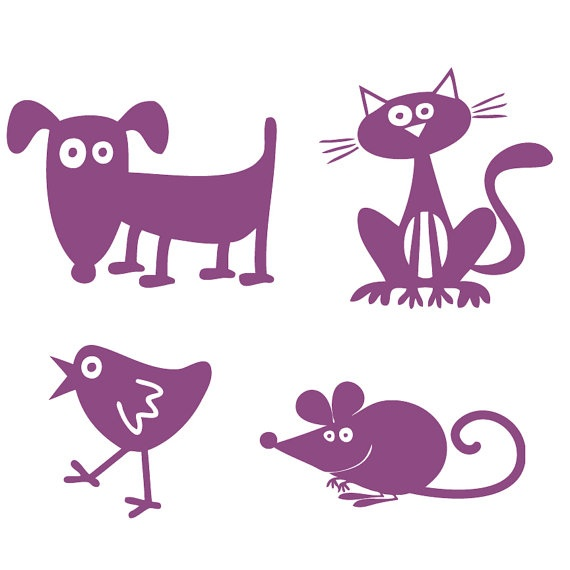 Dog Cat Birdy and Mouse Pet Wall Decals Wall by Acherryortwo, $9.99