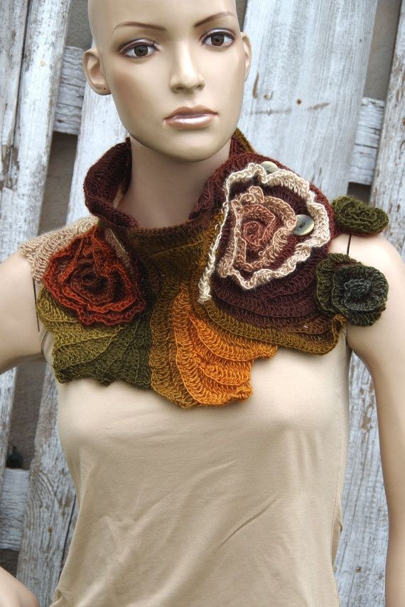 Crochet Scarf Capelet Neck Warmer Unique scarf Roses Brown Green Orange Chunky Knit Freeform Crochet one of a kind Textured scarf Gift Roses