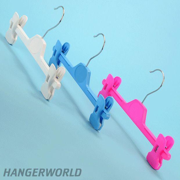 Childrens Coloured Plastic Clip Hangers - 28cm