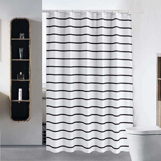 Simple Shower Curtain Liner Water Repellent Fabric Mildew Resistant Washable Cloth Hotel Quality Eco Friendly Heavy Weight Hem Wit Black White Shower Curtain Fabric Shower Curtains Shower
