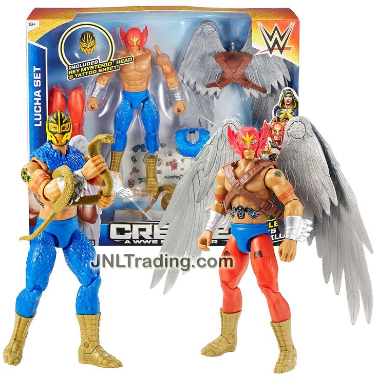 "Mattel Year 2015 Create A WWE Superstar 7"" Tall Figure LUCHA SET with Rey Mysterio & Red Mask Heads, Wing Pack, 2 Sets of Leg & Feet, Snake & Guitar"