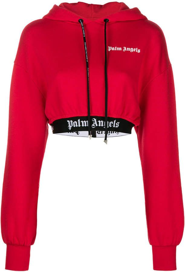 Palm Angels cropped logo hoodie | Cropped hoodie outfit