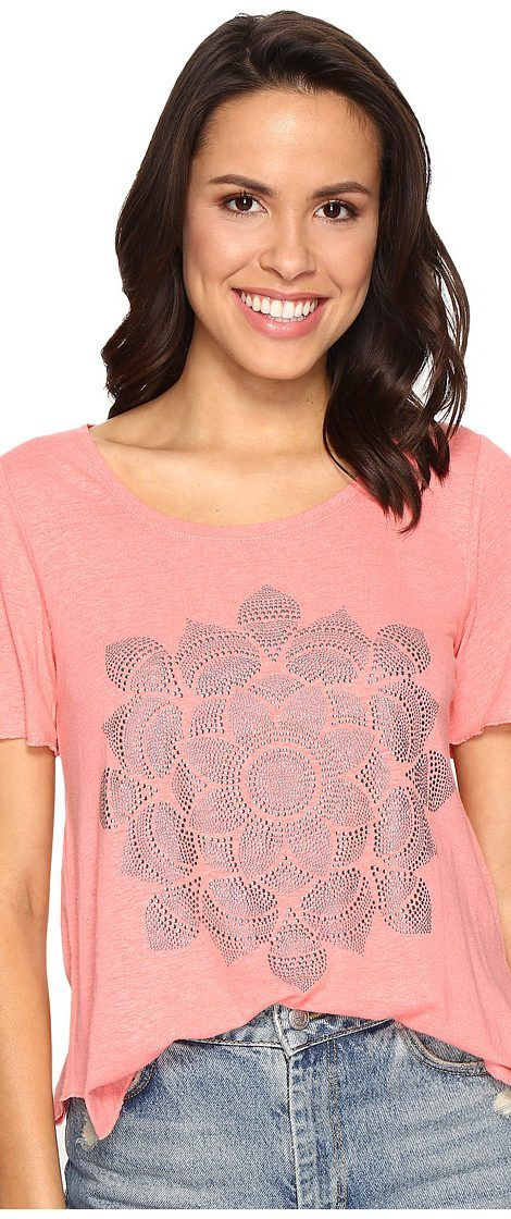 Lucky Brand Studded Lotus Tee (Shell Pink) Women's T Shirt - Lucky Brand, Studded Lotus Tee, 7W82831-680, Apparel Top Shirt, T Shirt, Top, Apparel, Clothes Clothing, Gift - Outfit Ideas And Street Style 2017