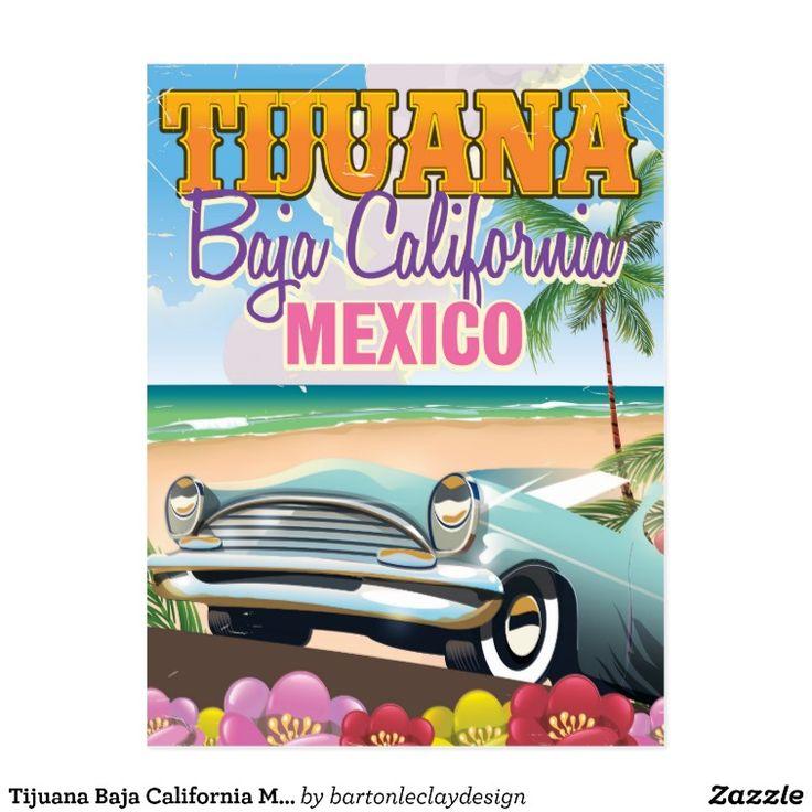 Tijuana Baja California Mexico travel poster Postcard