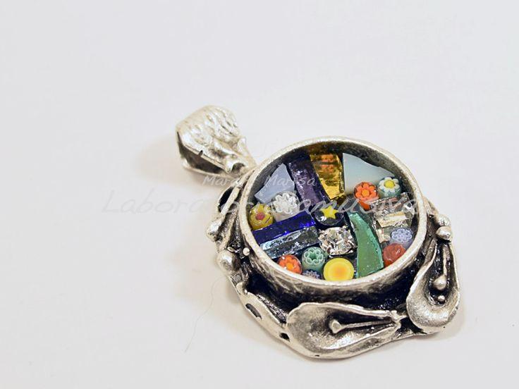 ciondolo calle ottone placcato argento mosaico multicolor