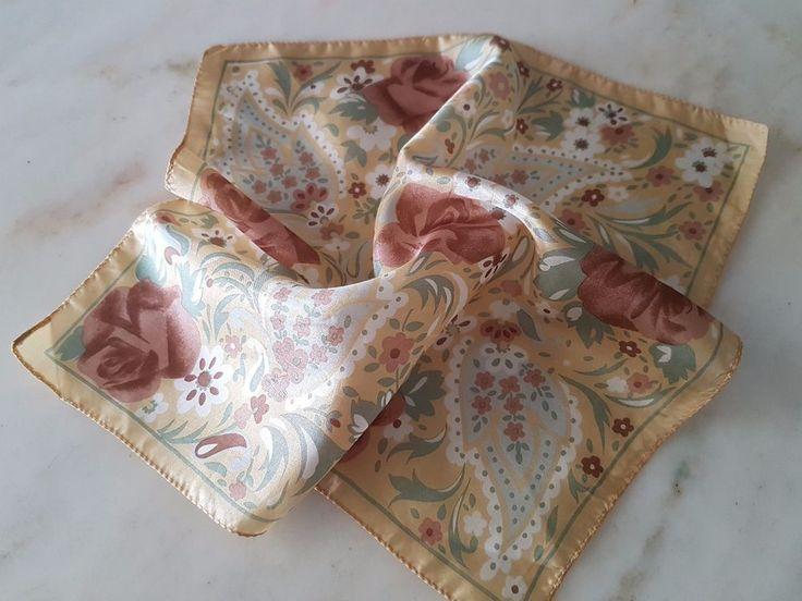 Mustard Paisley 100% original luxury Silk Pocket Square Handkerchief Como Italy