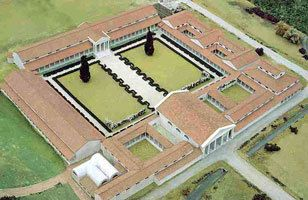 Cogidubnus' palace given to him by a grateful Vespasian for his loyalty in 69 and through his life Fishbournepalaceromangarden