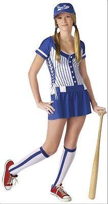 home run baseball player womens teen girls dress costume new - Baseball Halloween Costume For Girls