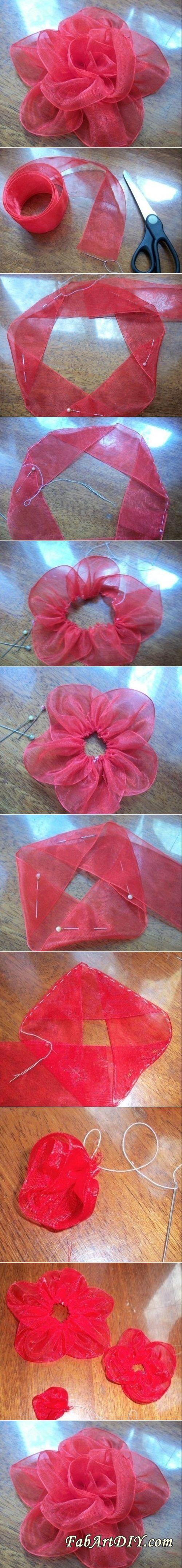 DIY Big Silk Ribbon Rose | www.FabArtDIY.com LIKE Us on Facebook ==> https://www.facebook.com/FabArtDIY