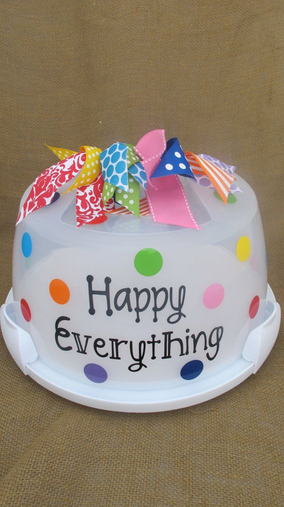Happy Everything Cake Carrier by PolkaDotPeacockShop on Etsy, $22.00