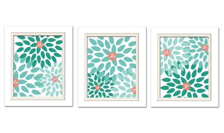 Nursery Flower Prints Mint Green Nursery Mint And Coral