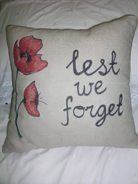 pinterest 365 day 304: ANZAC day/Memorial day pillow :) designed by Alana Mill inspired by dreamstime poppies ... its amazing how a $5 pillow can be totally transformed!