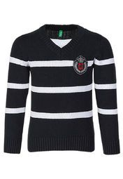 naughty son brave the cold in style wearing this navy blue coloured sweater from Gini & Jony. Featuring a V-neck and white coloured stripes, this sweater will lend him a trendy casual look.