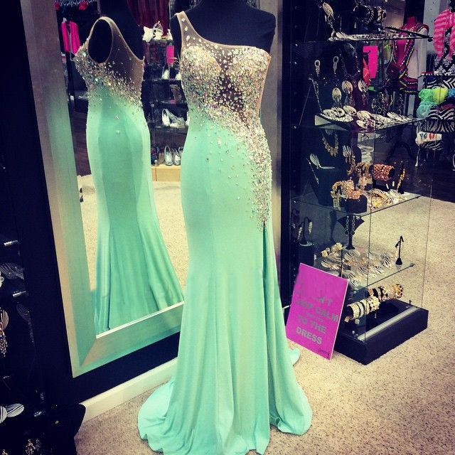 Mint Party Dresses Sheer Crystals Beaded One Shoulder Split-Left Chiffon Prom Pageant Evening Gowns
