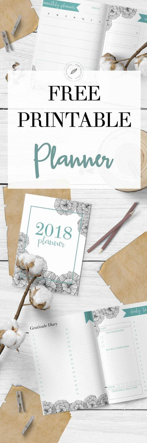 Ready to get organized? This free printable calendar for 2018 features a monthly planner, weekly planner, and daily to do list. Also, there's a gratitude and happiness dairy, a habit tracker, a meal planning printable, and a grocery list printable. And it's so cute and FREE! Hop to www.homebeautifully.com to grab your free calendar printable! #printable #planner #freeplanner #downloadableplanner #calendar Similar ideas: free planner printable   monthly calendar   2018 printable calendar