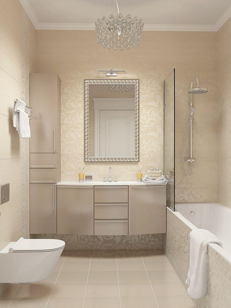 Ванная комната в нежных и теплых светлых тонах. Зеркало и люстра идеально дополняют настроения и роскоши ванной комнате. #дизайн_ванной_комнаты #светлая_ванная #бежевая_ванная #аксессуары_для_ванной #дорогая_ванная_комната