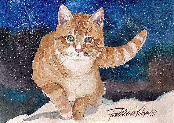 Impression de l'aquarelle, peinture rouge chat Kitty gingembre rouge mignon Tigré et blanc chat soirée d'hiver