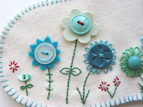 embroidered button flowers