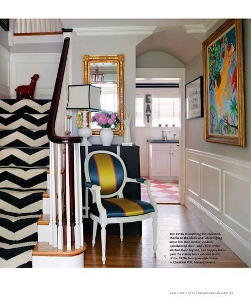 In love with the striped chair, patterned stairs and colorful painting on the hall.  A statement making entryway makes you want to see the rest of the home.  #bold #statement #patternDecor, Chairs, Interiors, Stairs Runners, Chevron Stairs, House, Stair Runners, Homes, Design