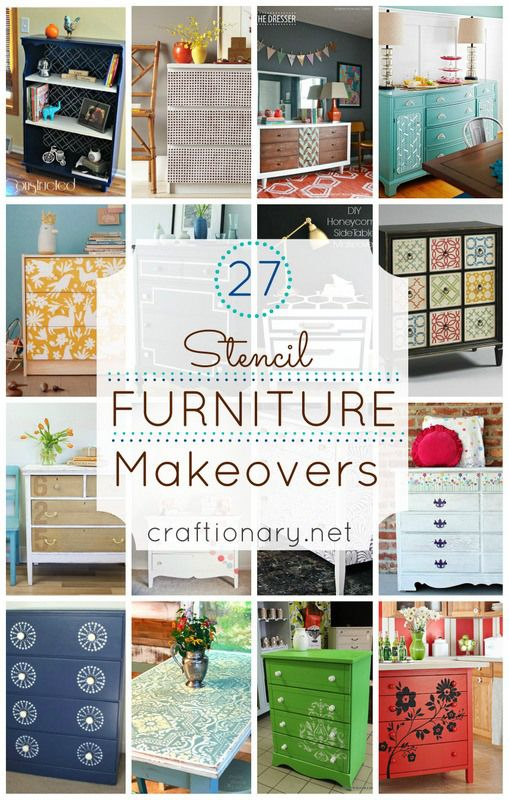 I am sharing 27 top/ best stencil furniture makeovers using thrift store dressers, tables and more. Refresh furniture using paint, vinyl, spray paint tips.