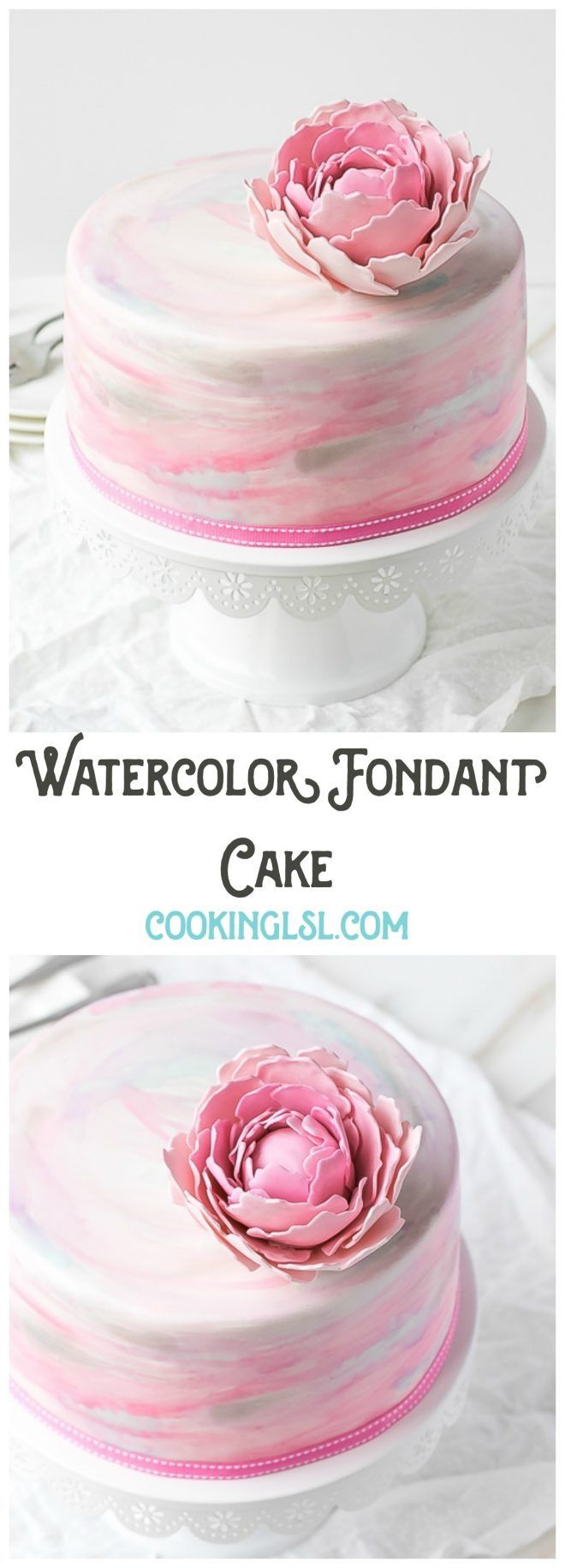 Beautiful watercolor fondant cake from cookinglsl.com! Perfect for any celebration - birthdays, bridal showers, weddings.