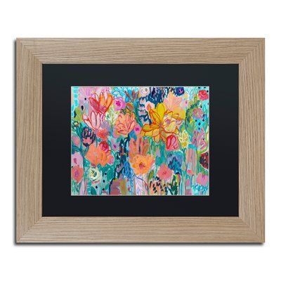 "Trademark Art 'Exhalation' Framed Painting Print Frame Color: Birch, Mat Color: Black, Size: 16"" H x 20"" W x 0.5"" D"