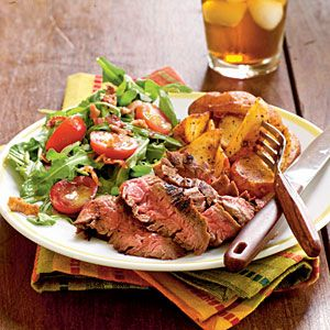 Ancho-Rubbed Flank Steak Recipe | MyRecipes.com  ---~>> Make a meal with ingredients almost entirely from the pantry. Roasted, simply seasoned potato wedges and a tartly dressed salad topped with smoky bacon complement this satisfying main dish.