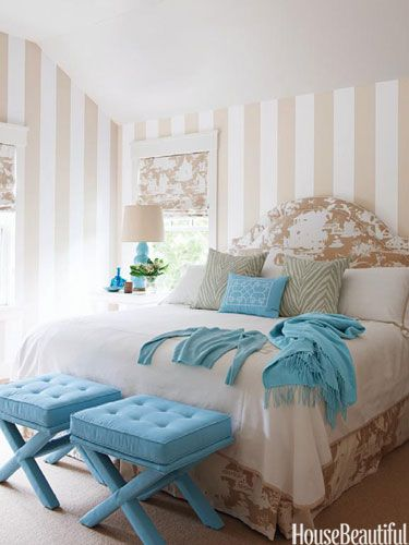 striped walls and a lovely bedroom color palette. Good for a guest